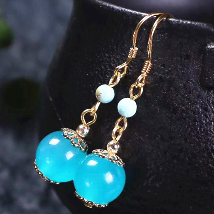 gemstone jewelry 925 sterling silver 18k gold plating natural amazonite earring drop for women big hoop earrings