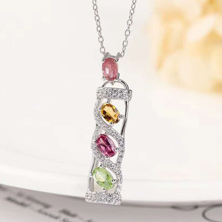 four stones bar jewelry wholesale 925 sterling silver 18k white gold plated 3x5mm natural tourmaline necklace pendant for women