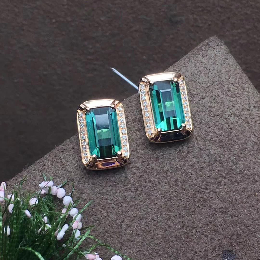 green Natural tourmaline stud earrings 18k real gold diamond