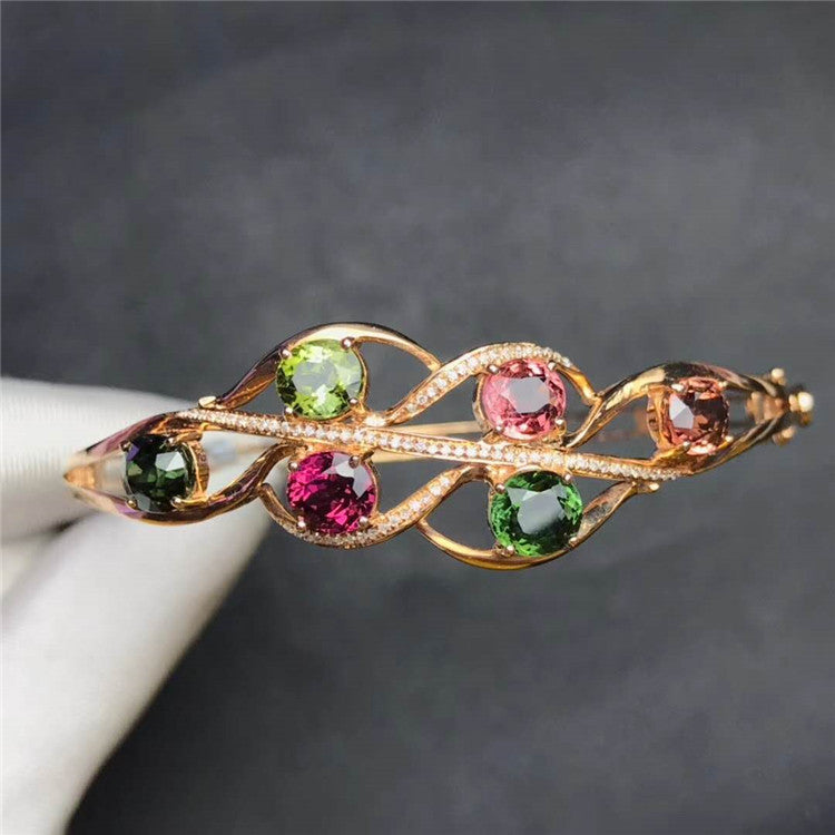18k rose gold 6.12ct natural tourmaline bangle