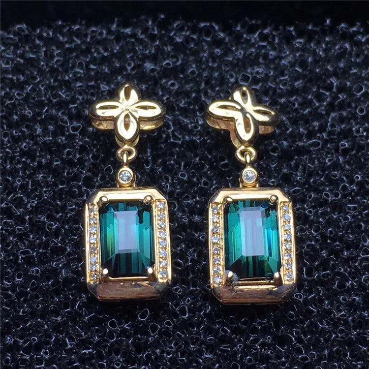 simple casual design 18k gold South Africa real diamond natural green tourmaline pendant earring jewelry