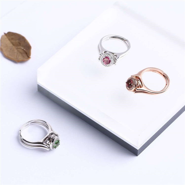 gemstone jewelry factory wholesale new- designed S925 plated natural tourmaline dual side wearable ring for women