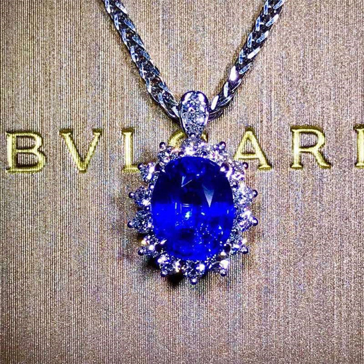 18k gold South Afrca real diamond Sri Lanka 2.2ct natural unheated royal blue sapphire necklace pendant ring dual use