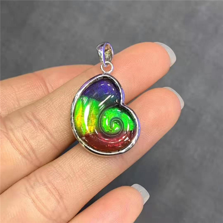 925 sterling silver natural Canadian ammolite pendant for women charm pendant