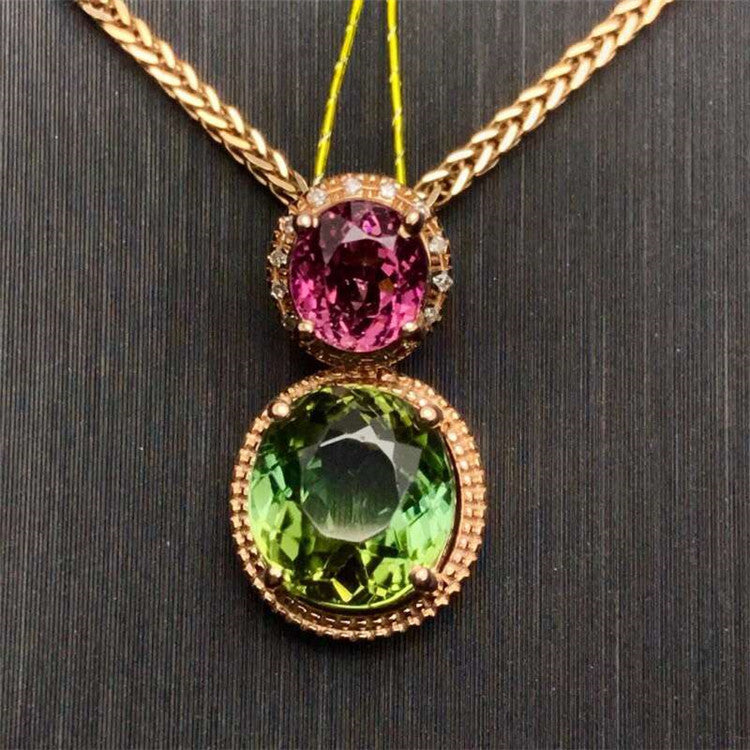 high-end diamond gemstone jewelry wholesale 18k gold 2.6ct natural tourmaline necklace pendant for women