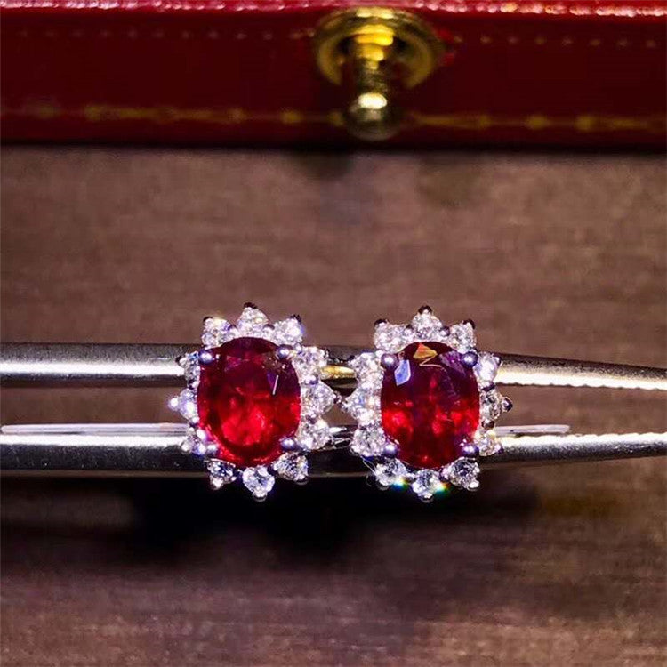 hot sell Saudi Arabia diamond gemstone jewelry 18k gold 1ct natural pigeon blood red ruby stud earring for women