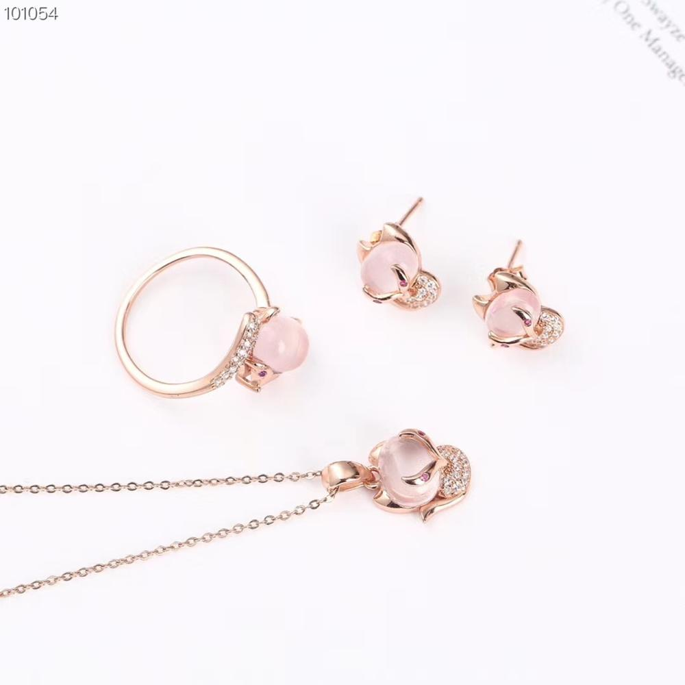 Fancy Natural pink Quartz crystal Jewelry Set women
