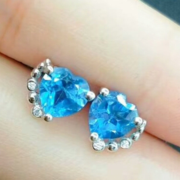 fashionable 925 sterling silver plated zircon natural blue topaz heart shape gemstone stud earrings for women