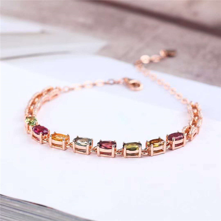 925 sterling silver 18k gold plated natural tourmaline chain bracelet