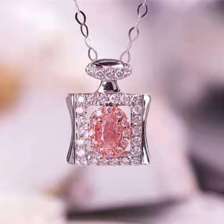 latest perfume bottle design diamond jewelry gift 18K gold natural pink diamond pendant necklace for women
