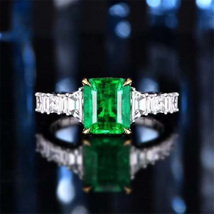 SGARIT European style classic women ring certificate 2.5ct vivid green natural emerald ring 18k real gold gemstone jewelry