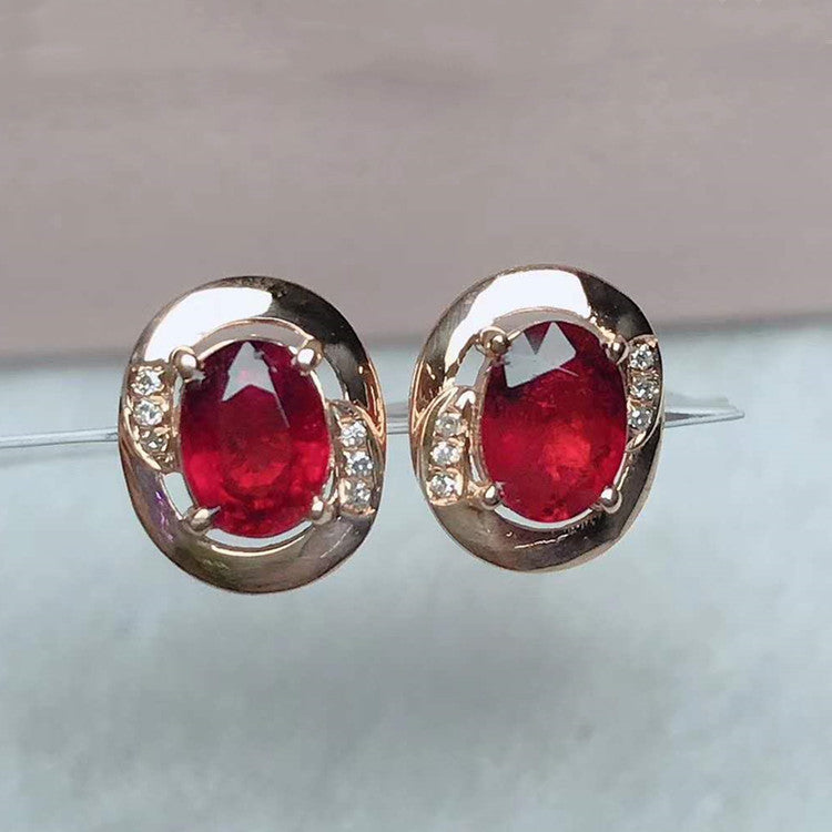 18k gold stone earring 1ct natural rubellite red tourmaline stud earring