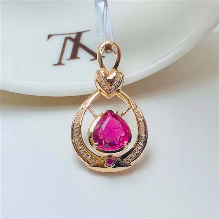 SGARIT pink gemstone jewelry 18k gold women daily wearing jewelry 1.1ct tourmaline pendant for necklace