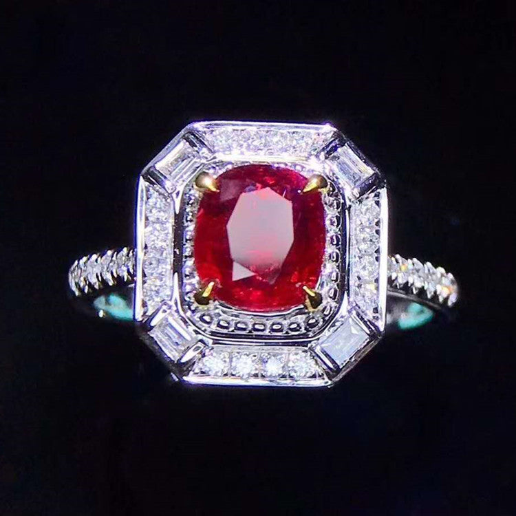 18k gold 1.55ct unheated pigeon blood red ruby ring