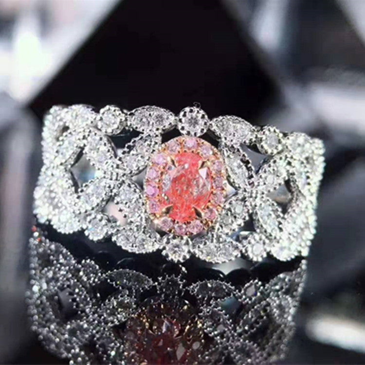 wholesale vintage luxury gemstone jewelry design women 18k gold 0.186ct natural pink diamond ring