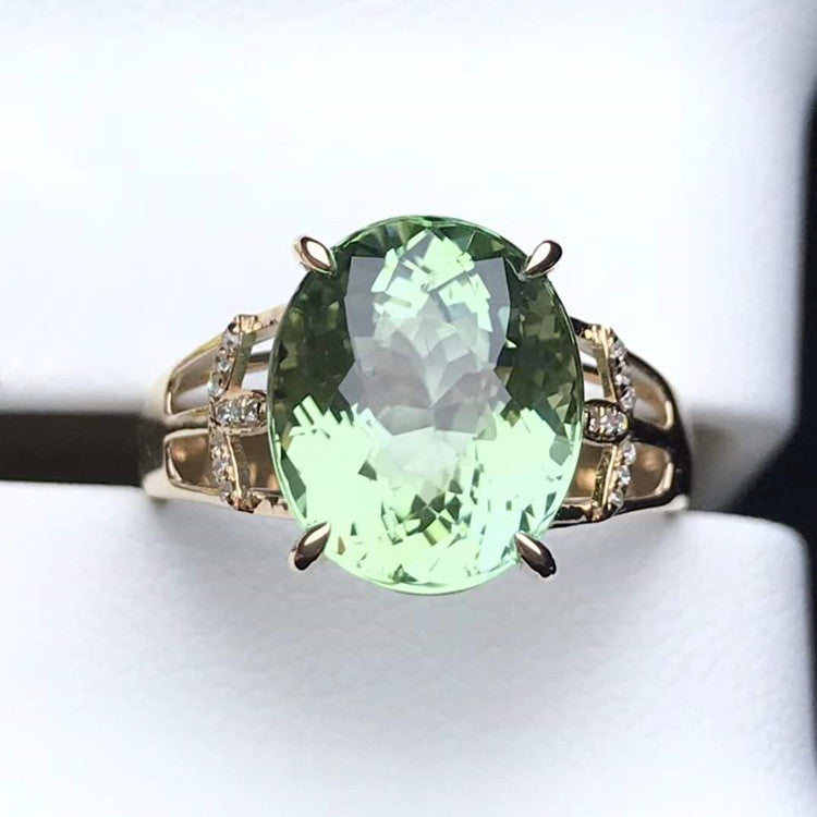 Handmade Italy 18k 7.1ct natural green tourmaline stone Solitaire Ring