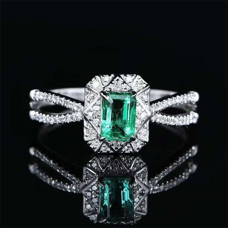 Classic Solitaire 18k Gold 0.42ct natural green emerald 18k gold women ring
