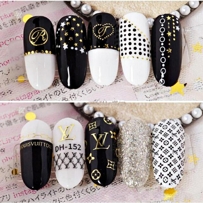 3Pcs Nail Decal Stickers Logo Brand Nail Art Decoration