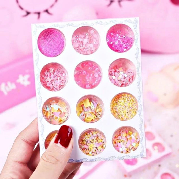 Tray Laser Mixed Nail Glitter Pink Powder Sequins Shinning Colorful Nail Flakes 3d DIY Charm Dust For Nail Art Decorations