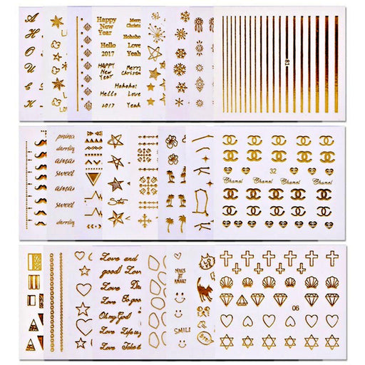 10Pcs Nail Decal Stickers 3D Gold Nail Art Decoration
