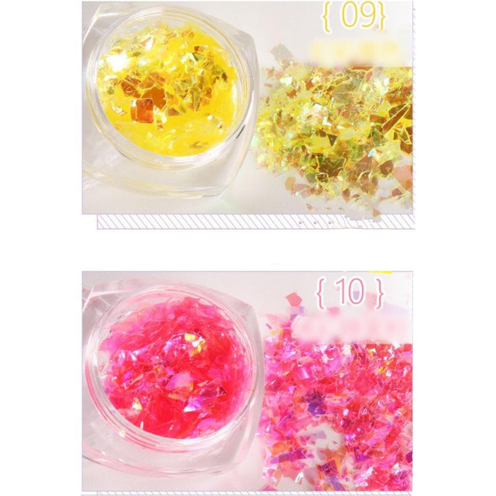 3 Jar Laser Mixed Nail Glitter Powder Sequins Shinning Colorful Nail Flakes 3d DIY Charm Dust For Nail Art Decorations