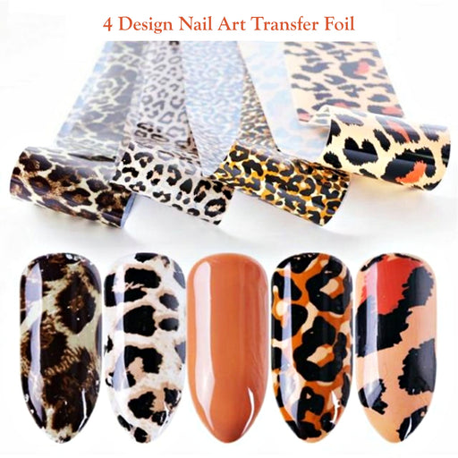 Set 4pcs Nail Art Foil Stickers Glue Transfer Gorgeous Manicure Nail Art Decorations