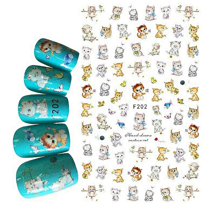 3Pcs Nail Decal Stickers Cat Nail Art Decoration