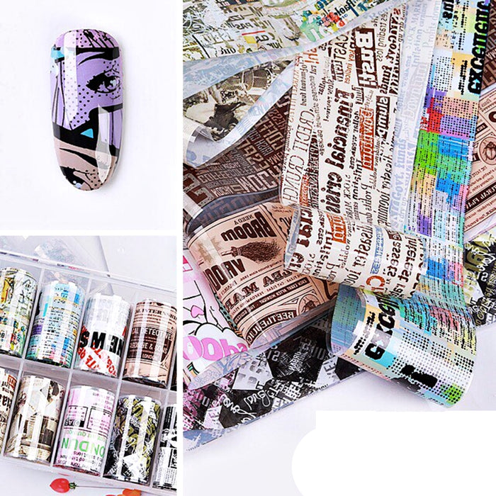 Set 10 Rolls Nail Art Foil Stickers Glue Transfer Gorgeous Manicure Nail Art Decorations