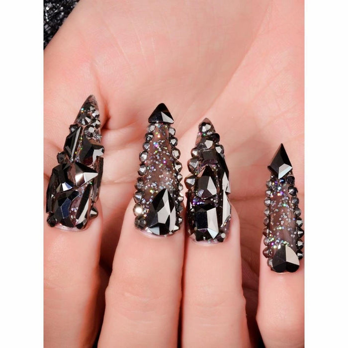 100pcs Cute Mixed Size Black Silver Nail Art Round Crystal Opal Glass Rhinestone