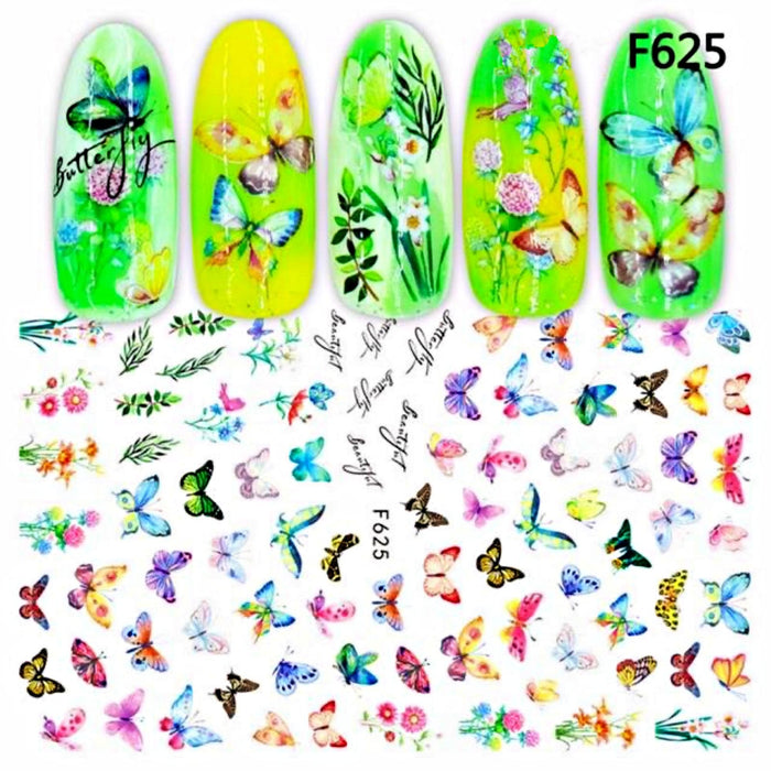 5Pcs Nail Decal Stickers Butterfly Nail Art Decoration