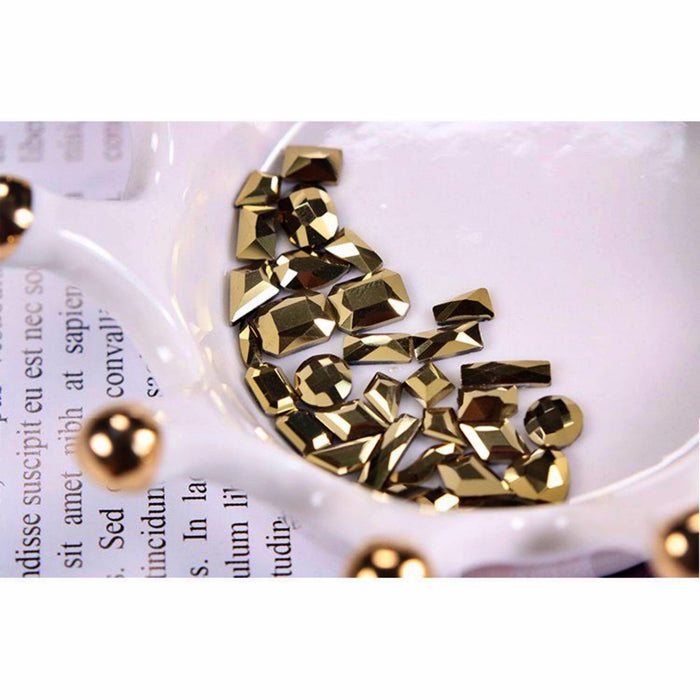 100pcs Cute Mixed Size Gold Nail Art Round Crystal Opal Glass Rhinestone