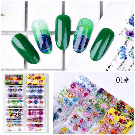 Set 10 Rolls Nail Art Flower Foil Stickers Glue Transfer Gorgeous Manicure Nail Art Decorations