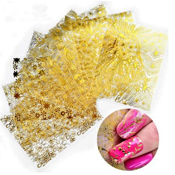 4Pcs Nail Decal Stickers 3D Gold Embroidery Nail Art Decoration