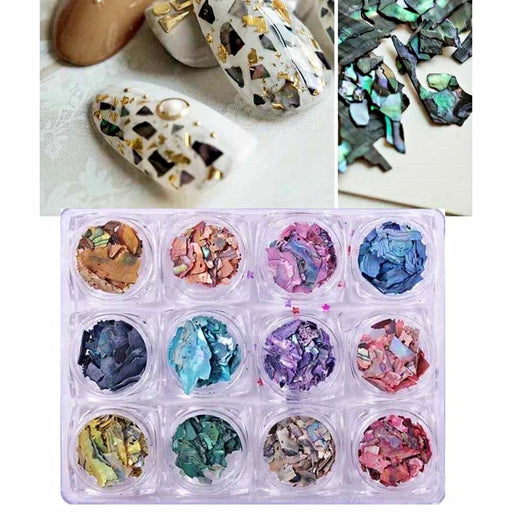 Set 12 Jar Nail Art Glitters