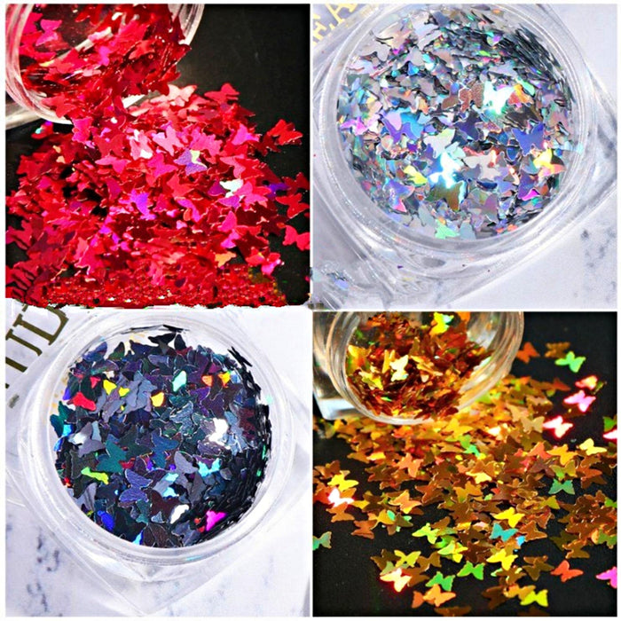 Set 8 Jars 8 Color Butterfly Glitter Nail DecorationButterfly Glitter Solvent Resistant for Nail Art Polyeste