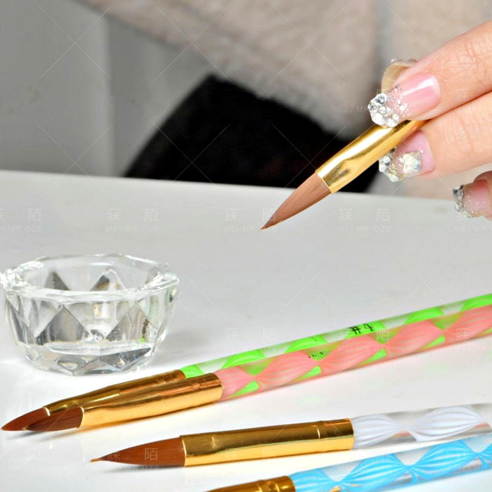 5 Pieces Kolinsky Sable Round Acrylic Nail Art Brush Set Manicure Detail Painting Nail Art Pen