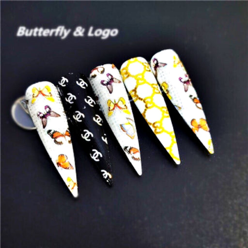 Set 10 Rolls Nail Art Logo Foil Stickers Glue Transfer Gorgeous Manicure Nail Art Decorations