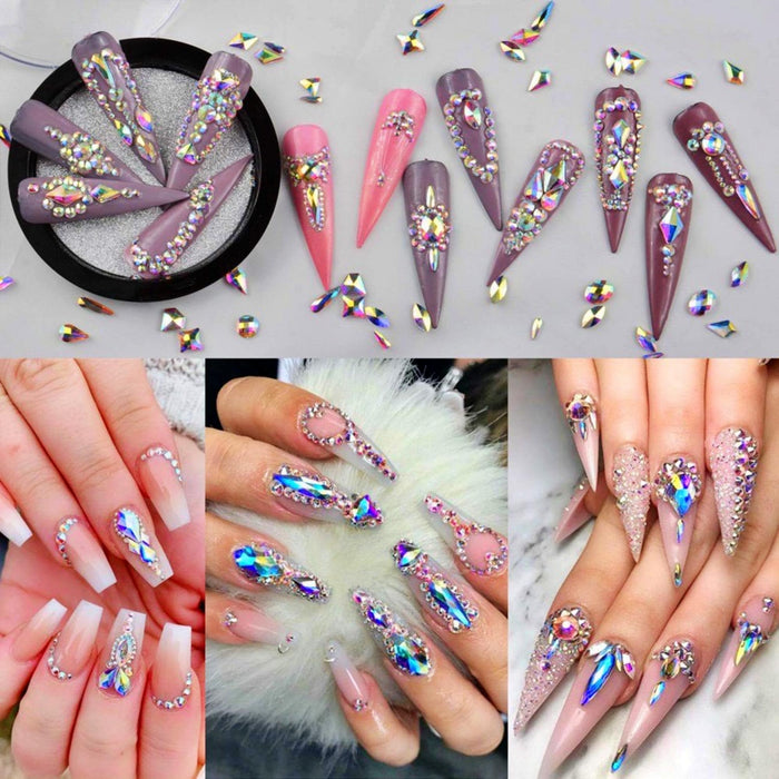 100pcs Cute Mixed Size AB White Nail Art Crystal Opal Glass Rhinestone