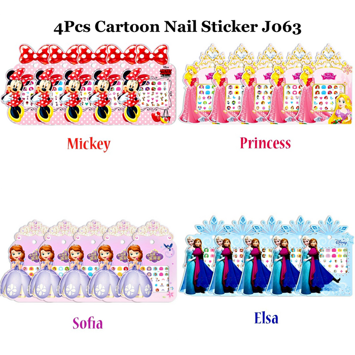 4Pcs Nail Art Stickers, Cartoon Nail Sticker, DIY Nail Decorations, Cute/Lovely Nail Stickers - J063