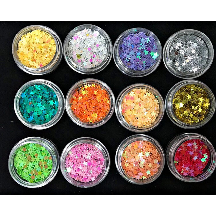 Set 12 Jar Nails Glitter Scales Star Nails Decorate Accessories