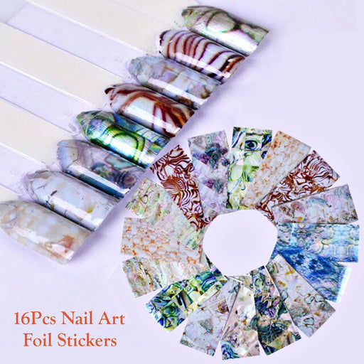 Set 16pcs Nail Art Foil Stickers Glue Transfer Gorgeous Manicure Nail Art Decorations
