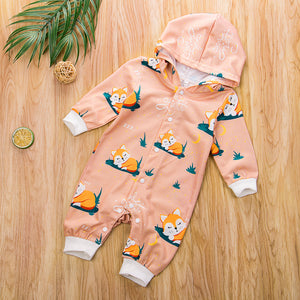 Infant Baby Boy Girl Fox Hooded Romper 24M