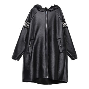XITAO Letter Plus Size Faux Leather Women Fashion New 2019 Autumn Pocket Elegant Goddess Fan Hooded Collar Loose Coat ZLL4442