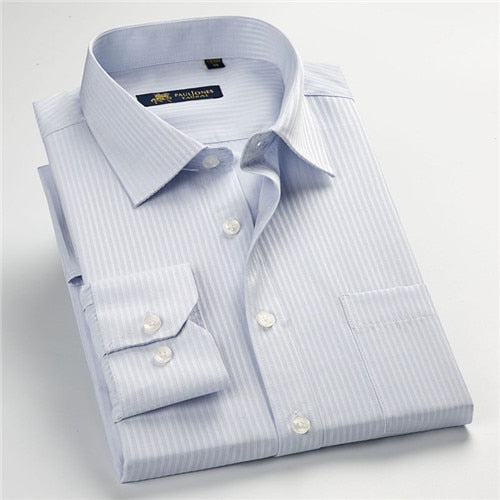 High Quality New Summer/Spring Plus Size S~ 5xl  Long Sleeve Striped Men Dress Shirts  Regular Fit Non-Iron Easy Care