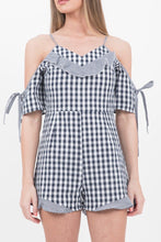 Load image into Gallery viewer, Black Cold Shoulder Gingham Playsuit
