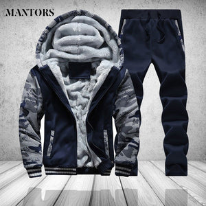 Casual Mens Tracksuit Set Winter Two Piece Sets Cotton Fleece Thick Hooded Jacket + Pants Sporting Suit Male Trainingspak Mannen