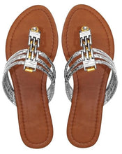 Load image into Gallery viewer, Women`s Chain Link Gem Bridge Open Toe Wedge Beach Thong Sandal