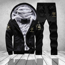 Load image into Gallery viewer, Casual Mens Tracksuit Set Winter Two Piece Sets Cotton Fleece Thick Hooded Jacket + Pants Sporting Suit Male Trainingspak Mannen
