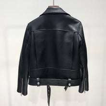 Load image into Gallery viewer, FTLZZ New Autumn Women Pu Leather Jacket Zipper Belt Short Coat