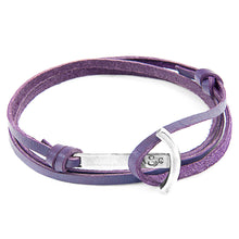 Load image into Gallery viewer, Grape Purple Clipper Silver & Leather Bracelet